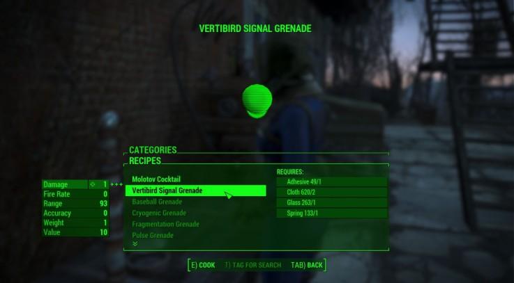 Craftable Vertibird Signal Grenade
