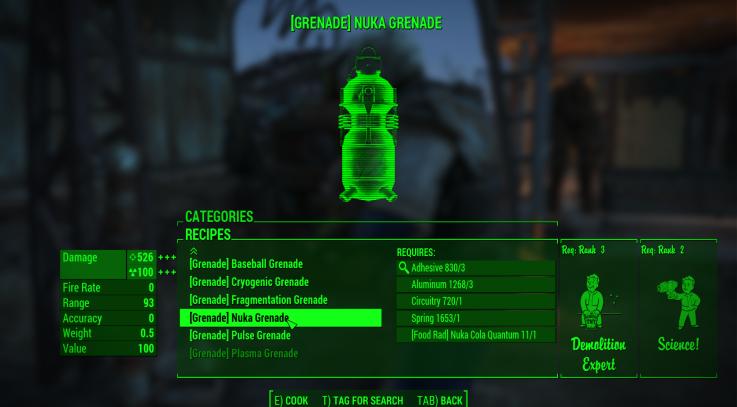 Fallout  Crafting Menu Bug