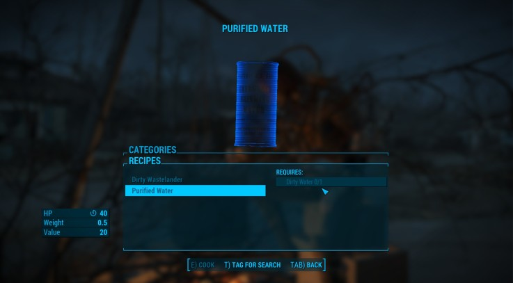 how to make purified water fallout 4