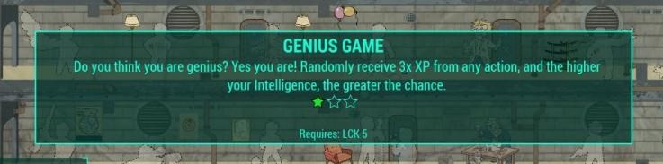 Genius Game - opposite Idiot Savant perk mod