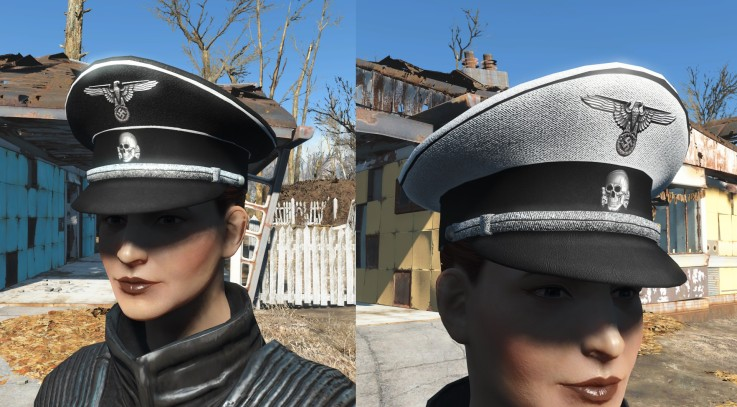 Schutzstaffel -SS- 4K Black and White Cap (WW2) (Blank version included)